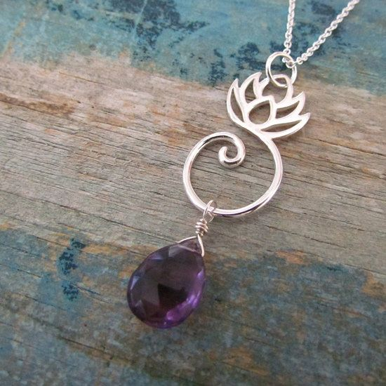 Lotus Amethyst Necklace: this Lotus Amethyst Necklace has a purple amethyst quartz stone hanging off the simple lotus flower charm.