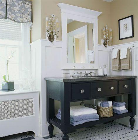 simple master bath: Mirror, Bathroom Color, Bathroom Vanities, Bathroom Storage, Masterbath, Wall Color, Bath Vanities, Bathroom Ideas, Master Bath