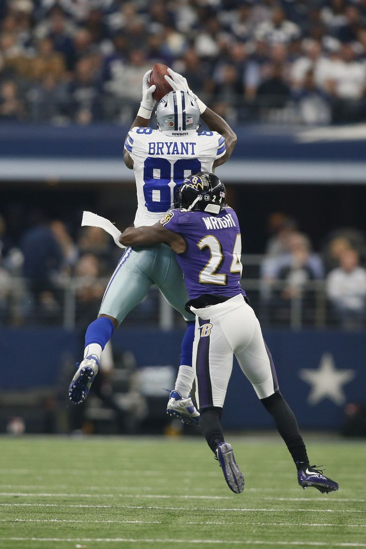 Nov 20, 2016; Arlington, TX, USA; Dallas Cowboys wide receiver Dez Bryant (88) catches a pass against Baltimore Ravens cornerback Shareece Wright (24) in the second quarter at AT&T Stadium. (2114×3171)
