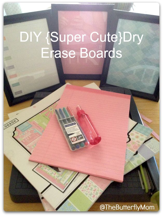 Super Cute #DIY Dry Erase Boards. Made from dollar store frames and scrapbook paper. Awesome!
