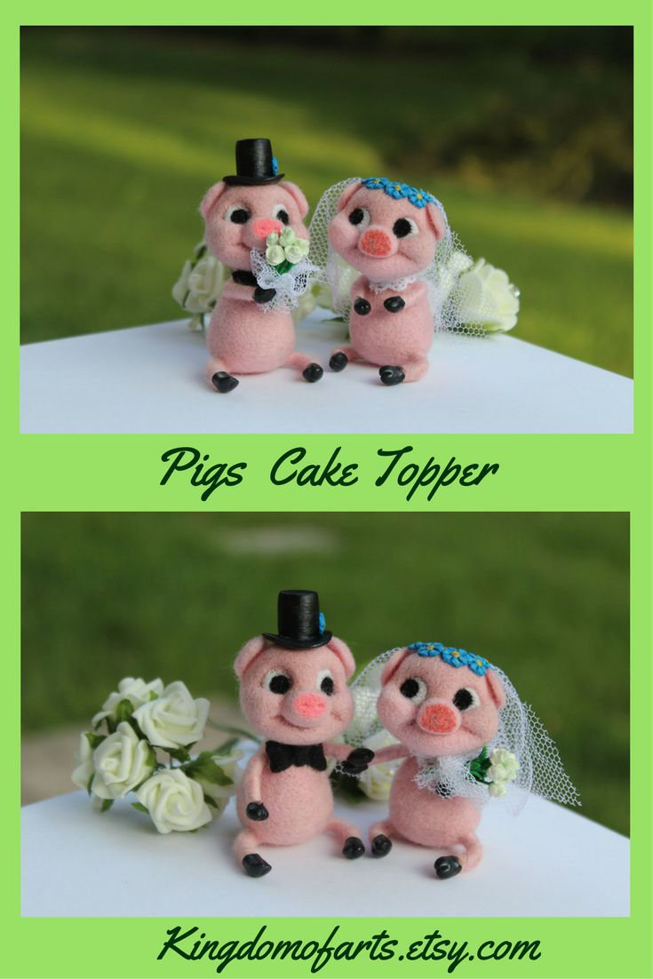 Cute Pigs Wedding Cake Topper is made of 100% high quality merino wool. The work made with high quality detailing. Each piece is handmade without using any third-party molds. ~ felt pigs wedding cake toppers animal cake toppers wedding country wedding cute wedding ideas cute wedding ideas wedding decor felted piglet pigs cake topper pig wedding cake toppers bride and groom pigs funny cake topper wedding wool pigs barn cake topper farm animals gifts for couples wedding gifts custom cake…