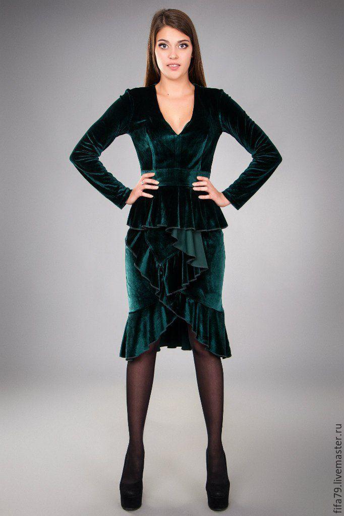 Купить Малахитовое Нарядное Платье из Бархата - тёмно-зелёный, однотонный, бархатное платье, малахитовый