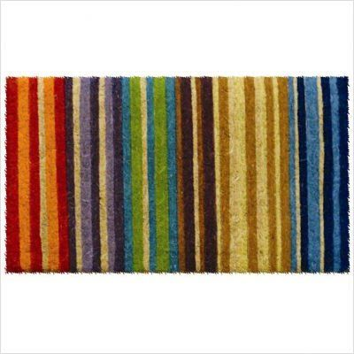 "Rainbow Stripe Hand Made Extra Thick Coir Doormat 18"" x 30"" by Entryways. $45.16. This mat is hand stenciled with permanent fade-resistant dyes. Hand made from all-natural coconut fiber which is an excellent dirt-trapper; 1 1/2"" thickness. Extra Thick. 18 in x 30 in. This beautifully designed hand-woven doormat will enhance your entry way or patio. It's made from the highest quality all natural coconut fiber.. Save 10%!"