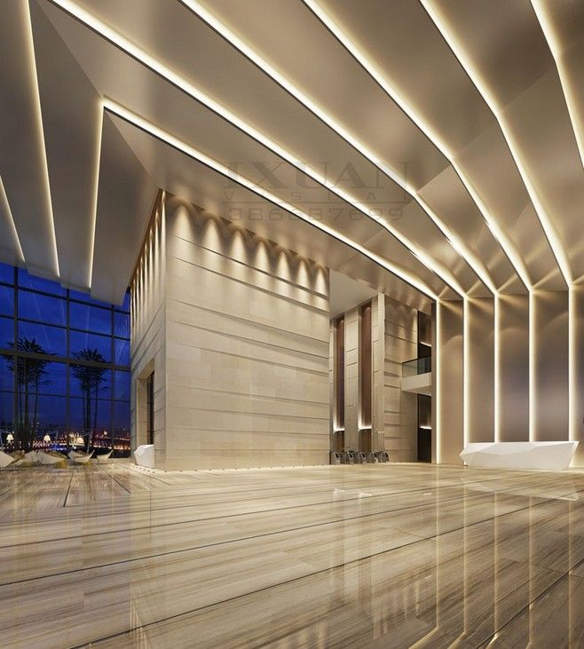 Pin by taralux iluminaci n on edificios y centros for Lobby ceiling design