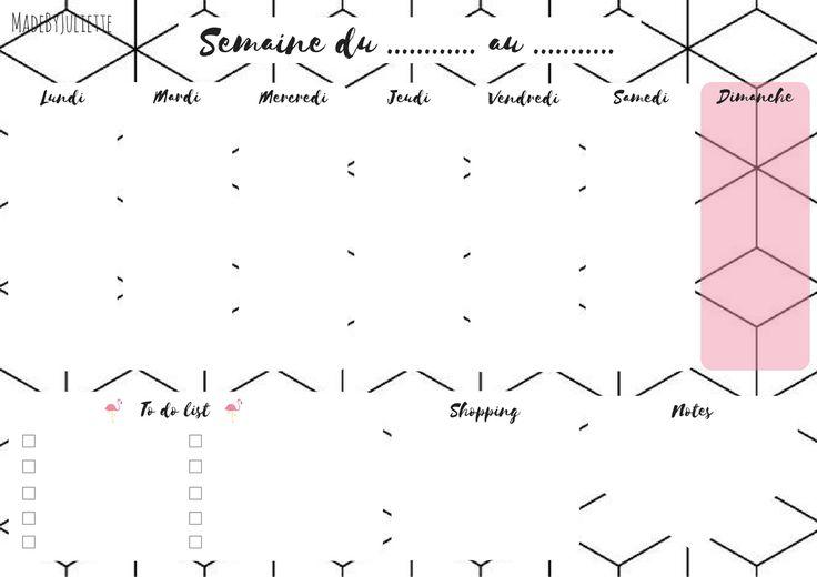 Semainier - A Imprimer pour t'organiser! A Voir: ma vidéo sur youtube