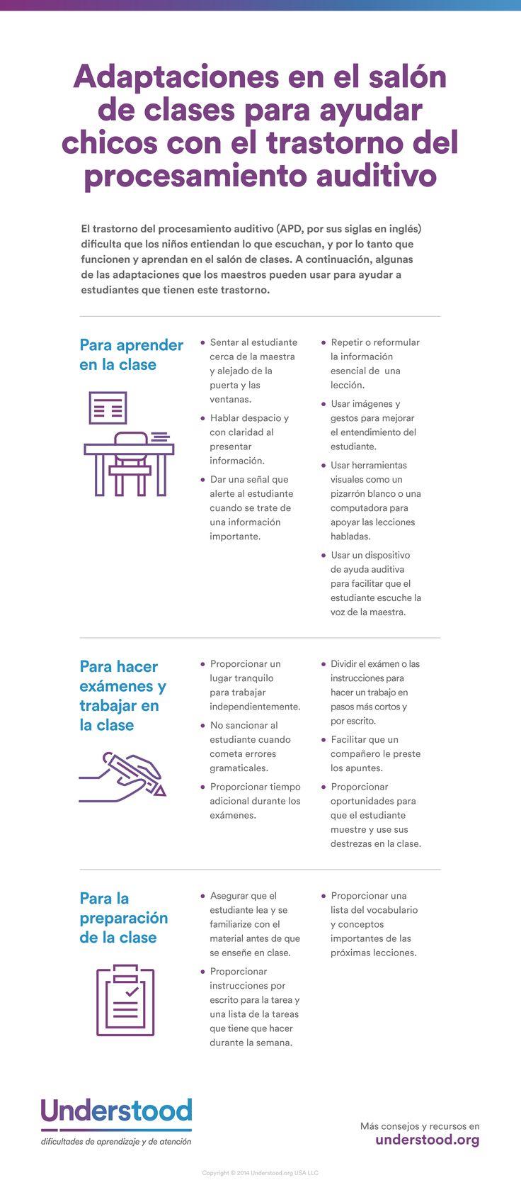 Adaptaciones para estudiantes que tienen el trastorno del procesamiento auditivo