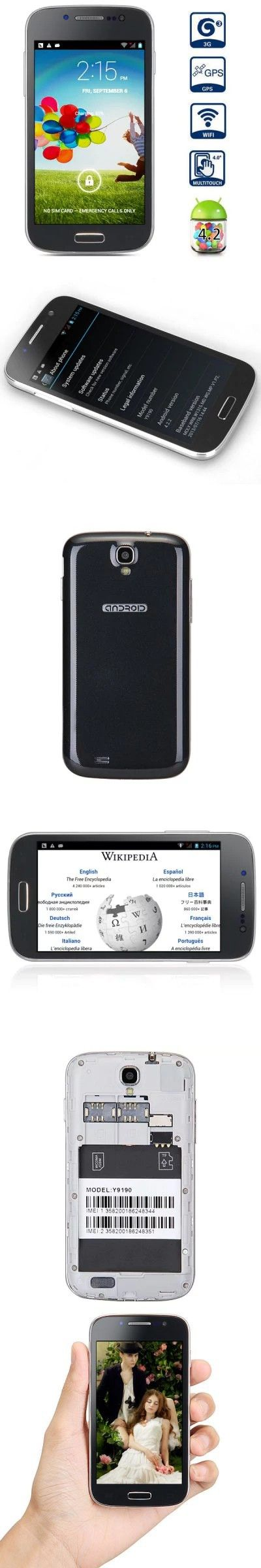 Y9190 4.0 inch Android 4.2 3G Smart Phone MTK6572 Dual Core 1.2GHz WVGA IPS Screen WiFi GPS 5MP Camera -$70.41
