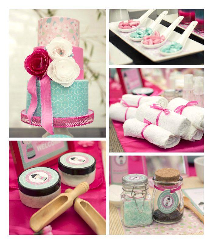 Cherry Blossom Spa Themed Birthday Party via Kara's Party Ideas KarasPartyIdeas.com