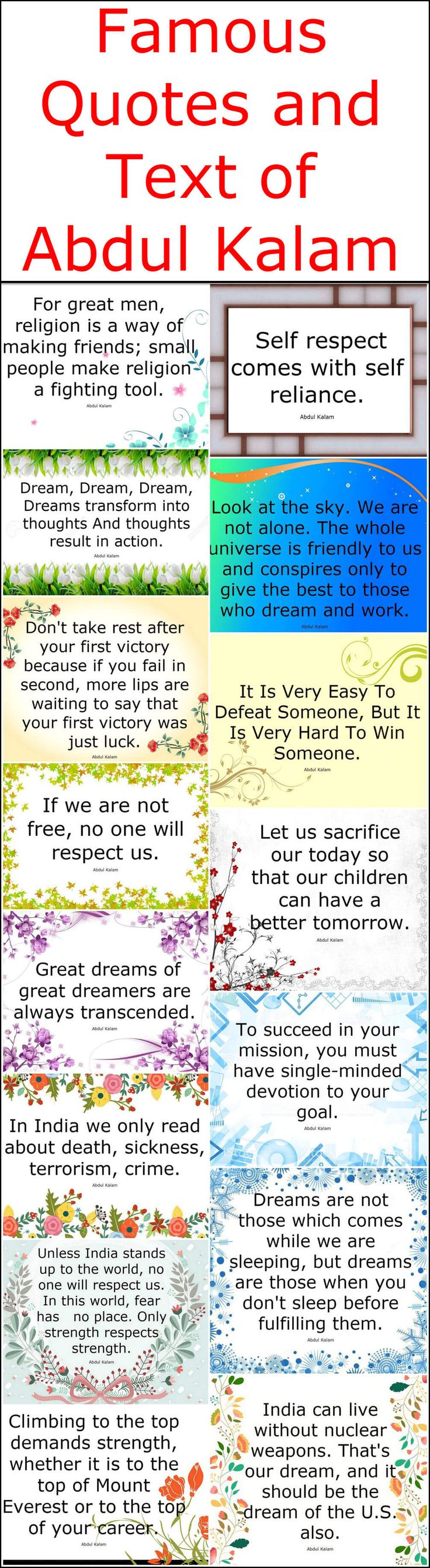 Famous Quotes and Text of Abdul Kalam