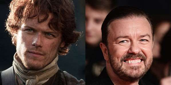 TV News TV listings TV On Demand   Ricky Gervais to guest-star in Outlander?  Sam Heughan, star of the Highlands-set fantasy drama, is offering wigs, dogs and snacks to get him on board but Ricky's main concern seems to be kilts ...