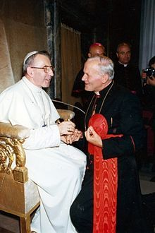 Pope John Paul I and Cardinal Karol Joseph Wojtyla, very soon to be his successor, Pope John Paul II.