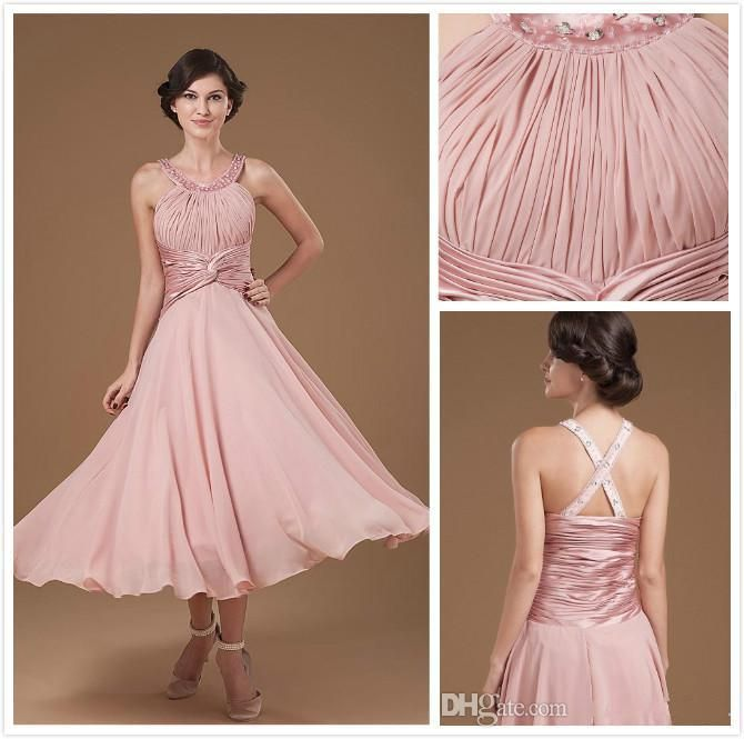 Pink Tea Length Halter Chiffon Mother of the Bride Dress