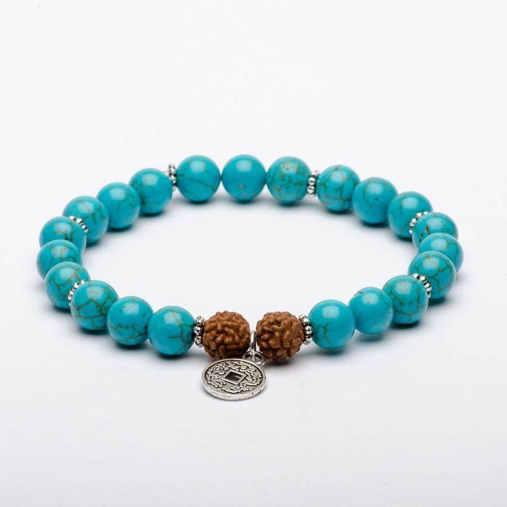 Mala Beads Bracelet Turquoise Gemstones Rudraksha Seeds Flowing River
