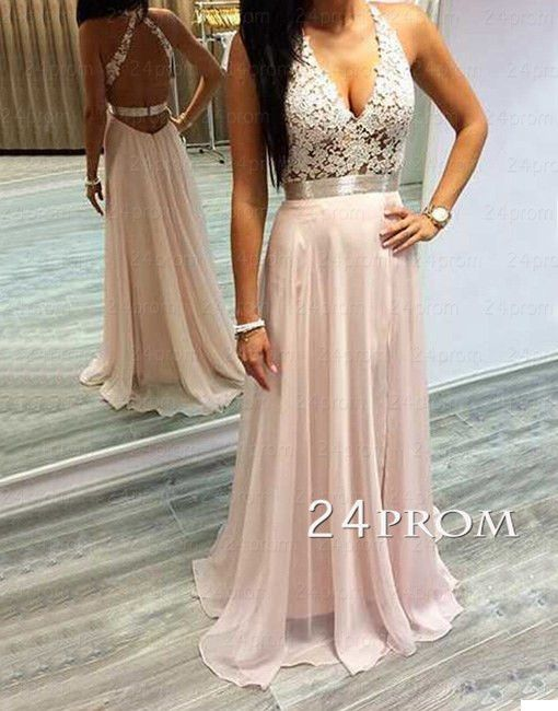 Pink A-line Lace Chiffon Long Prom Dress,Formal Dresses – 24prom
