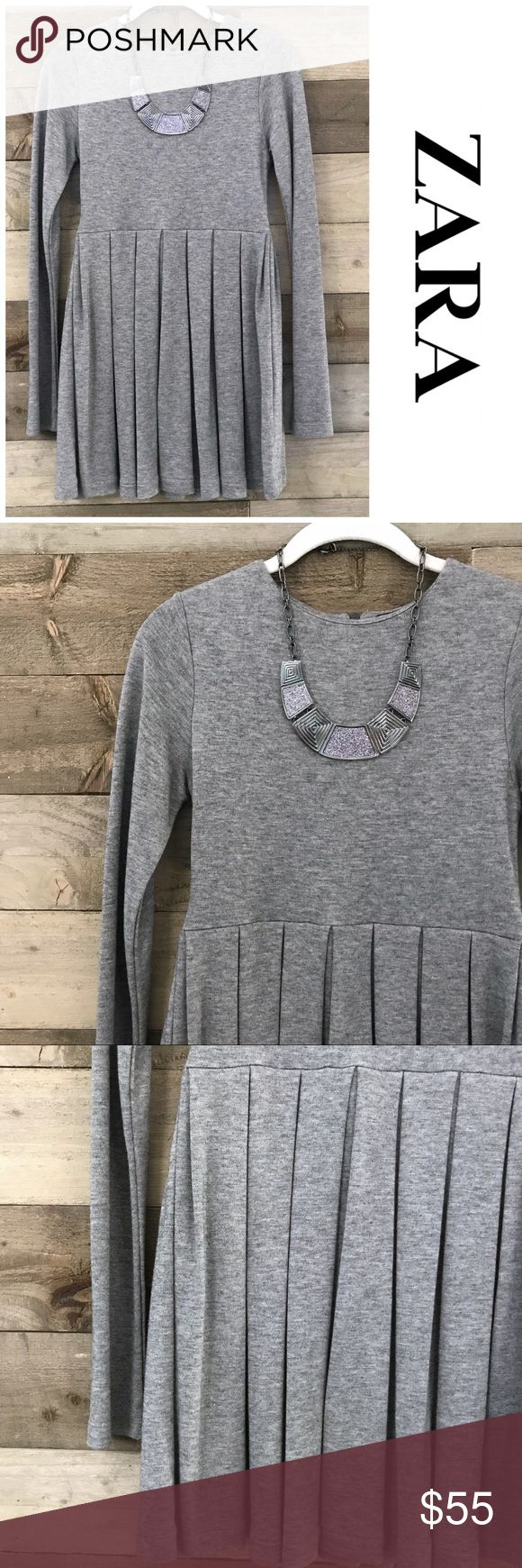 Zara Woman Gray Long Sleeve Pleated Dress Zara Woman Gray Long Sleeve Pleated Dress. You can dress this up with colorful accessories and heels, or play it cool with minimal accessories and black heels. Necklace pictured is not included but is available for sale. Zara Dresses