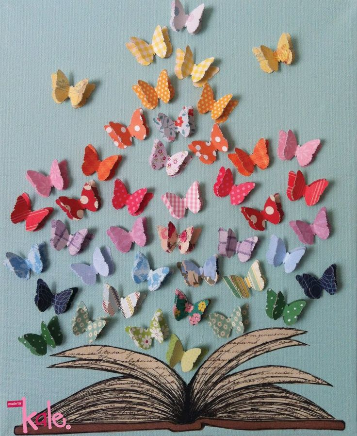 Cut-Paper Art Print © madebykale (Artist, Australia) via her shop at Hand-Made website: https://www.hand-made.com.au/listing/12545/ready_to_frame_print Colorful butterflies emerging from an open book $10 AUD ... Give credit where due. Acknowledge the artist by name here in the caption. Link / Pin from the Primary source. Promote blogs here in the caption…