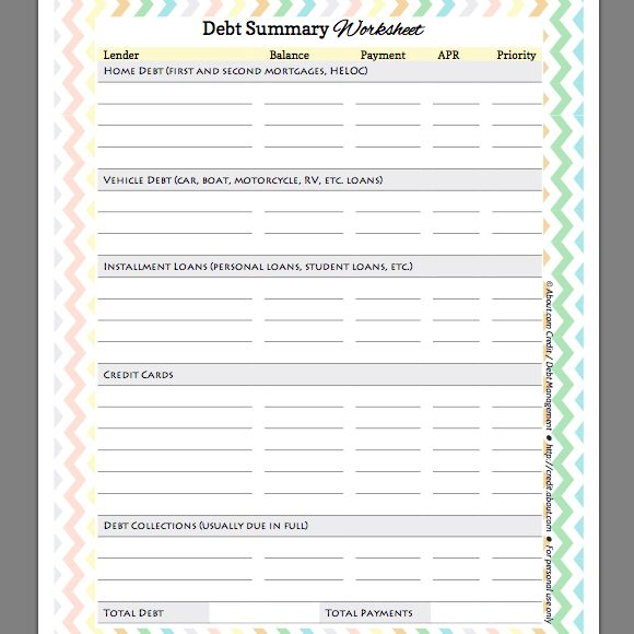 free debt summary worksheet for organizing and prioritizing your debts worksheets and summary. Black Bedroom Furniture Sets. Home Design Ideas