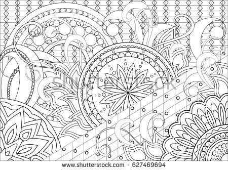 Hand drawn decorated image with doodle flowers and mandalas. Zentangle style. Henna Paisley flowers Mehndi. Image for adults coloring page.