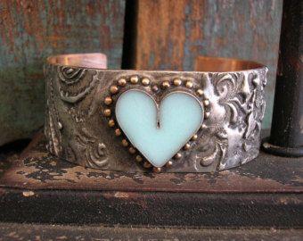 Heart cuff bracelet - Timeless - Boho jewelry, heart, love, bohemian gypsy jewelry, robins egg blue, rustic mixed metals soldered jewelry