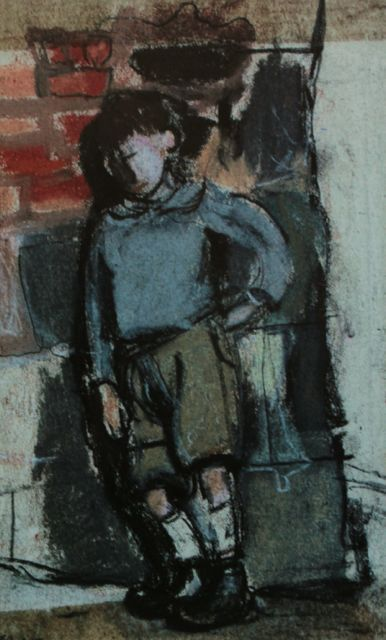 """Joan Eardley, """"Boy Leaning Against a Wall,"""" c.1955-59, pastel on paper, 6 3/4 x 4 1/4 in, Private Collection."""