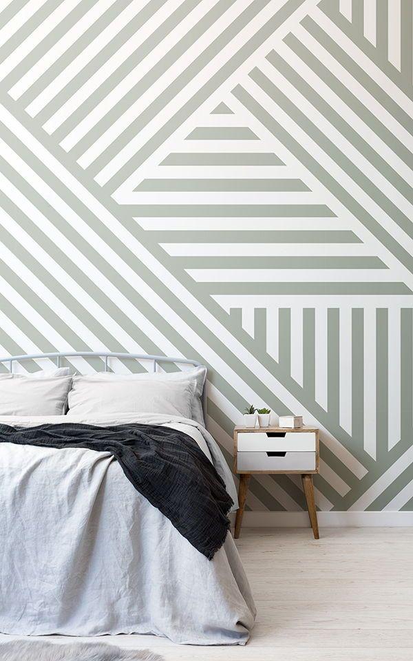 Papier Peint Rayures Deviees Sauge Murals Wallpaper Striped Walls Bedroom Wallpaper Design For Bedroom Bedroom Wall Paint