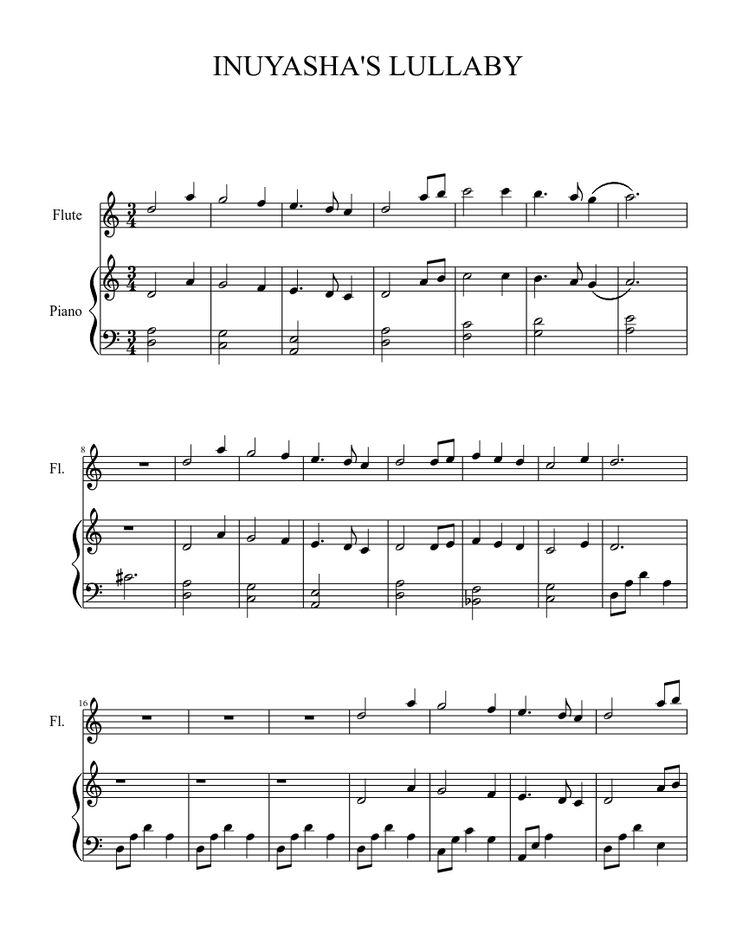 Inuyashas lullaby flute sheet music pinterest note