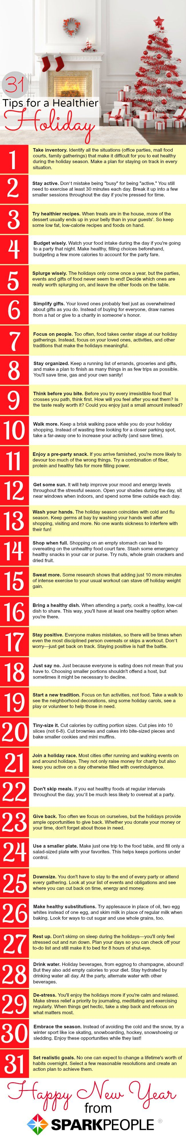 31 Tips for a Healthier Holiday |  Tips about nutrition, organization, spirituality and more!