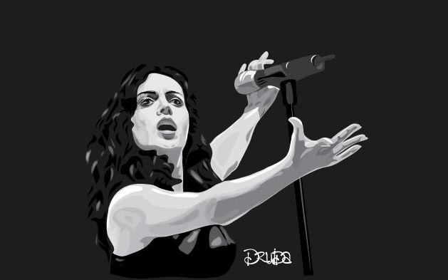 """Ilustración de la cantante Rita guerrero, proyecto hecho para la comunidad """"Viernes de Ilustración"""""""