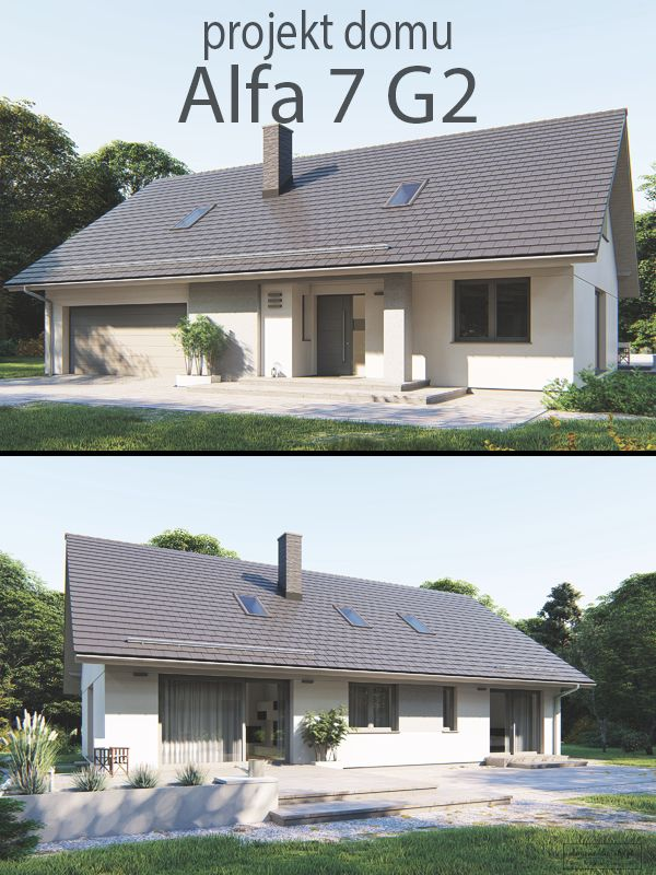 Projekt małego, parterowego domu z dwustanowiskowym garażem oraz możliwością adaptacji poddasza na cele użytkowe lub gospodarcze. Podstawową zaletą budynku jest jego wszechstronność. Parter zapewnia komfortowe lokum dla 2-3 osób. Znajduje się tutaj duży salon, kuchnia ze spiżarnią, 2 sypialnie i wygodna łazienka z oknem.