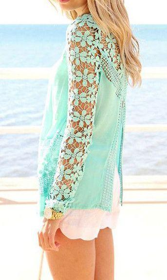 Floral Crochet Mint Top- Long Sleeve Floral Crochet Mint Top