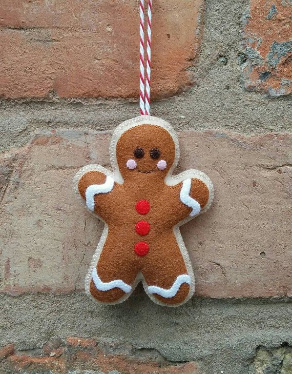 Felt gingerbread man Christmas ornament by TillysHangout on Etsy