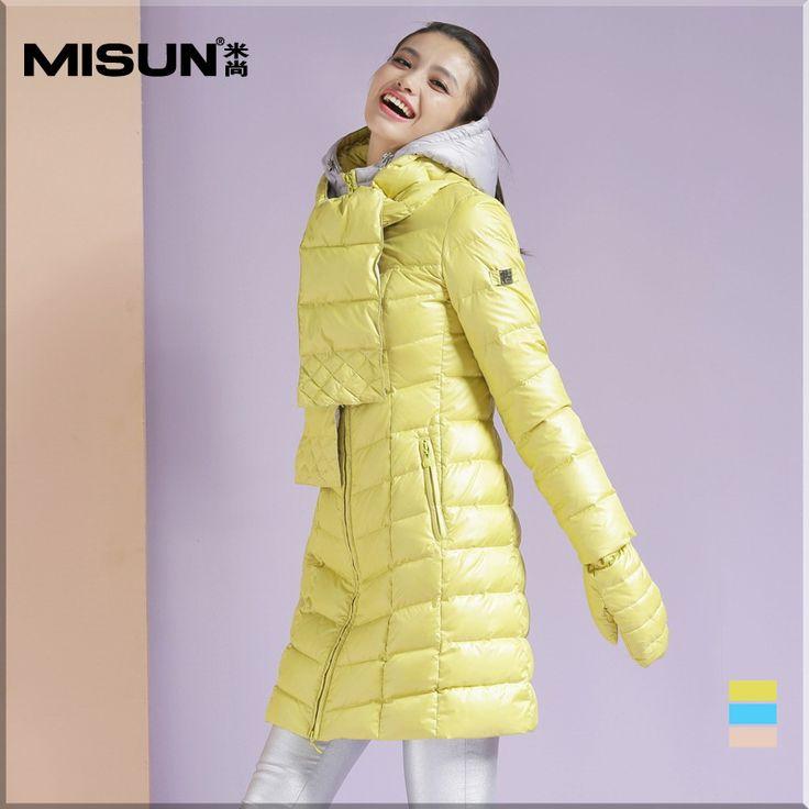 Winter women's duck down jacket coat with gloves and neck gaiter thickening medium-long slim down coat female warm 3 pieces set