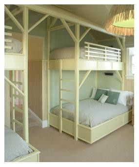 Double bunk beds top and bottom woodworking projects plans for Bunk bed with double on bottom