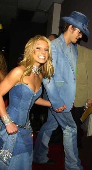 Britney Spears and Justin Timberlake circa 2001 double denim
