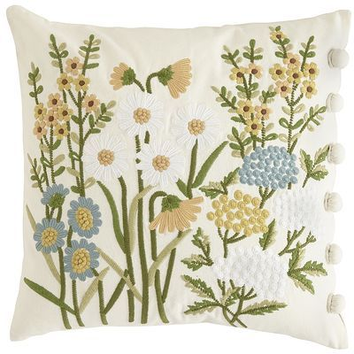 Love the look of an English garden but hate getting your hands dirty? Dig this: Our embroidered floral pillow features bright spring flowers on a field of soft ivory, with button loop closure for easy removal and cleaning. You know, in case <i>other</i> people's hands get dirty.