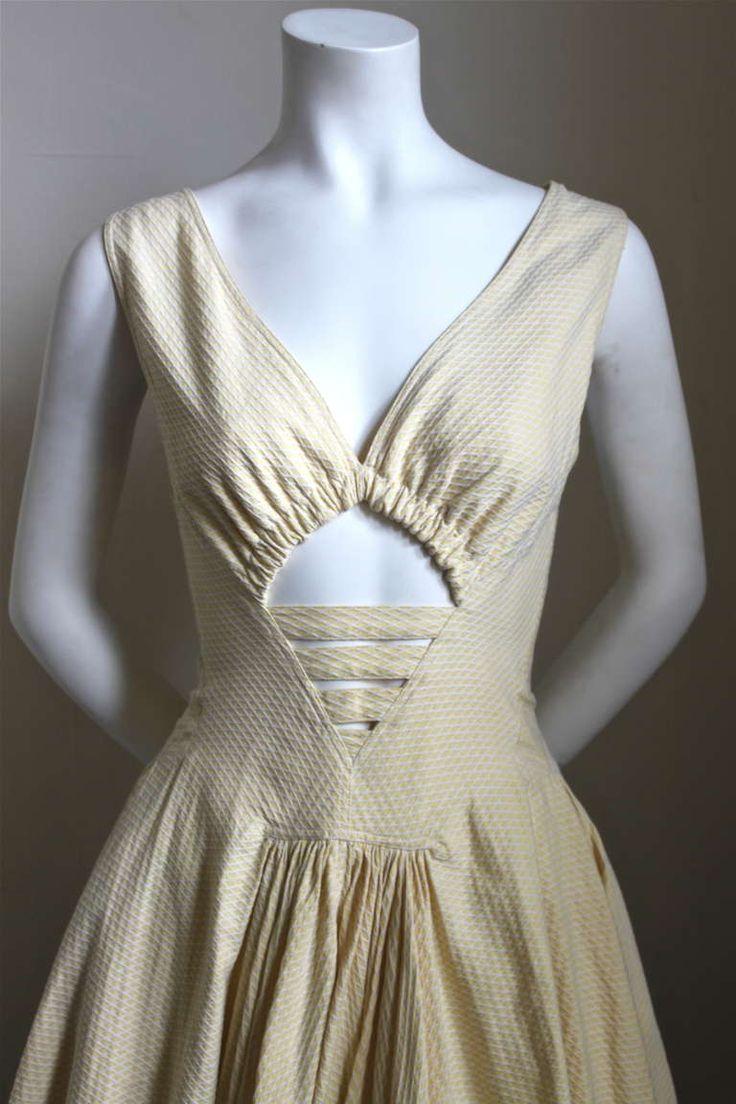 1980's AZZEDINE ALAIA cotton pique dress with cut out image 2