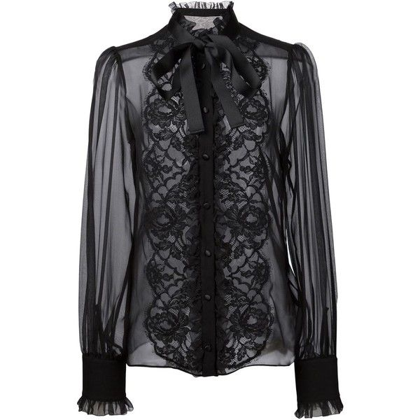 Dolce & Gabbana floral lace bib blouse found on Polyvore featuring tops, blouses, black, see through blouse, long sleeve lace top, floral blouse, black sheer blouse and long sleeve lace blouse