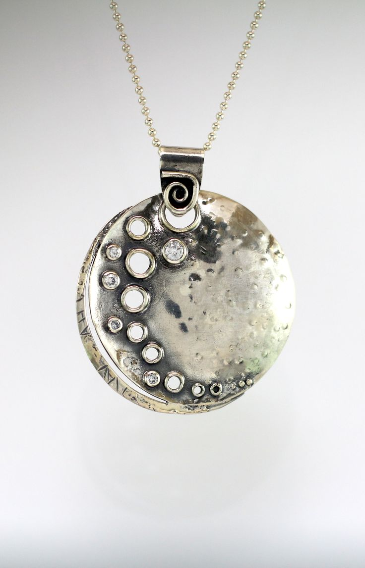 Stunning, Beautiful Sterling Silver oxidised pendant with Crystal dotted along the side. Capturing the brightness of the moon and a star shower in the night sky. Dreams Jewellery & Gifts Kalamunda #StarShower #SterlingSilver #Pendant #Kalamunda #Moon #Crystal #MyCaravanCreations #Myc