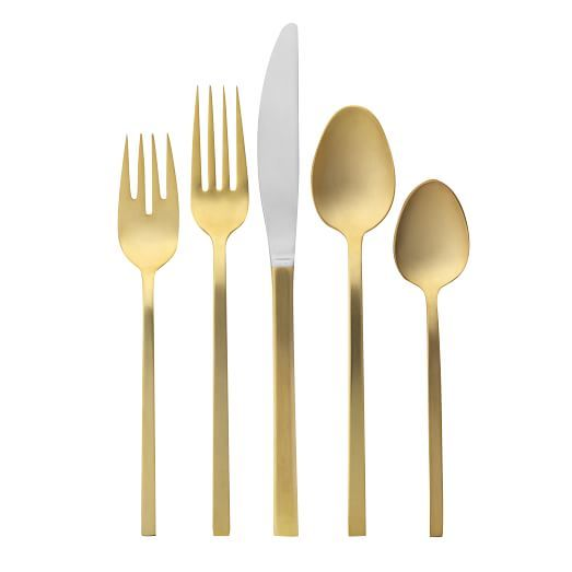 Gold Flatware, 4 Place Settings