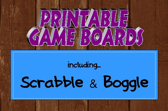 Printable Game Boards including Scrabble and Boggle. Just print, laminate and play. All playing pieces available as well. Free! Make as many as you like.  #elemchat #spedchat #gameboards #printables  Another idea would be to mod-podge the printable onto a piece of wood or chipboard.  If you would like authentic looking Scrabble tiles in four sizes click here. Perfect for all sorts of games and activities in the classroom…bulletin boards too!    It is also great to use as Boggle letters. Use thi