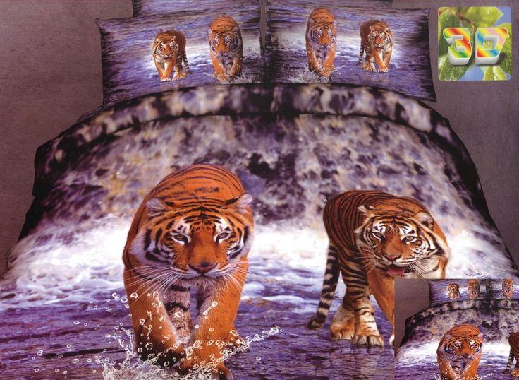 Fioletowa pościel bawełniana z tygrysami