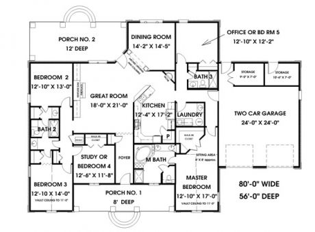 Simple 5 bedroom house plans hpc 2550 5 is a great for Five room house plan
