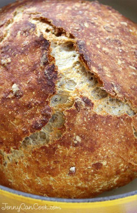 Multigrain No Knead Bread recipe from Jenny Jones (JennyCanCook.com) - Anyone can bake this foolproof hearty loaf made with oats and whole wheat flour. #nokneadbread #multigrainbread #jennyjones