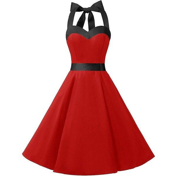 Dresstells Halter 50s Rockabilly Polka Dots Audrey Dress Retro... ($22) ❤ liked on Polyvore featuring dresses, polka dot dress, red dress, halter dresses, retro cocktail dresses and halter neck dress