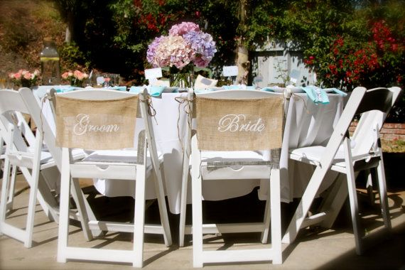 Burlap Wedding Chair signs  BRIDE & GROOM chair by butterflyabove, $22.00