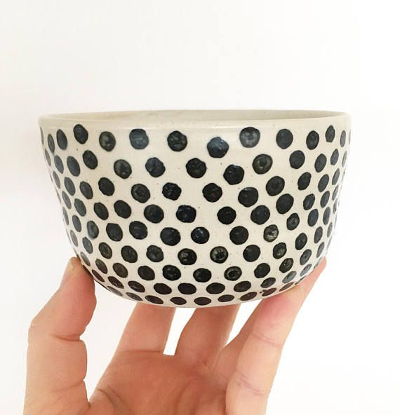 Matcha green tea bowl, Shawan bowl, Danish unique bowl, Handmade tea bowl, Breakfast bowl Farmhouse style bowl, Gift for her, Polka dot bowl  Ready to ship.  Matcha green tea bowl with black dots is unique pottery piece, made by me. It is one of kind vessel, I have made recently. The bowl is wheel thrown in professional pottery studio in Denmark. You can use the bowl for tea drinking! I make custom orders to, so just contact me if you have special wishes :).  I have other same kind of bowls…