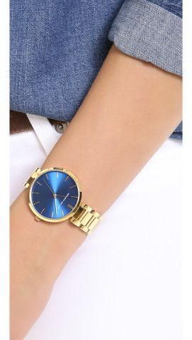 Kenneth Jay Lane Large Face Watch. Love the blue.