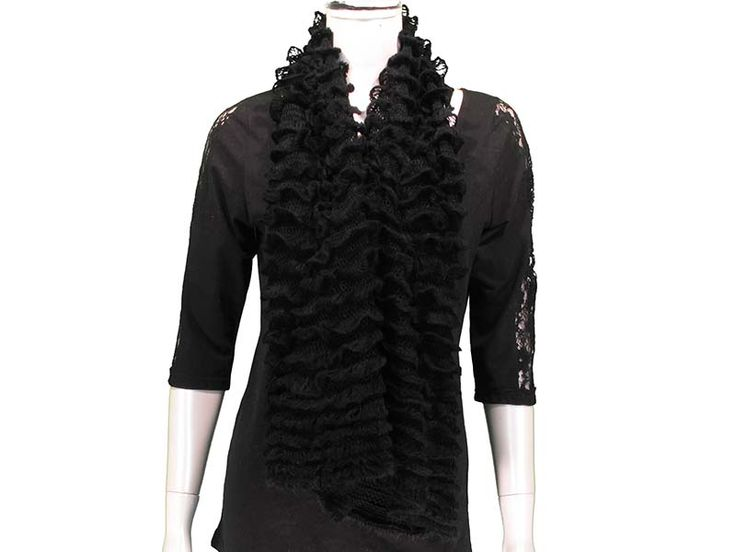 Black This Ruffled Tube Scarf can be worn as a shorty infinity, or as a long scarf. Ruffled layers provide extra softness and lightness to the scarf, with beautiful colours to match any outfit! Available in Black, White/Grey, Pink, Coral, Red, Mint, Royal.