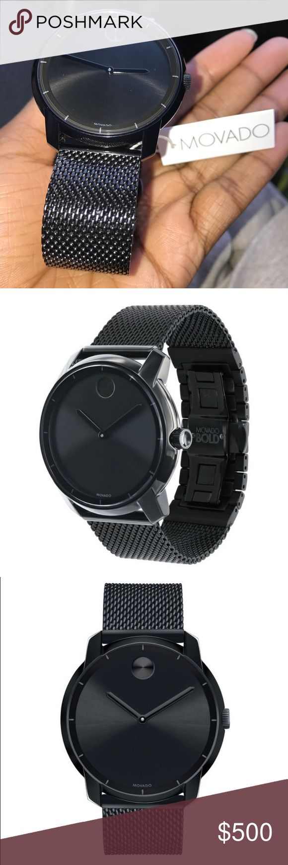 Movado Bold Large Movado BOLD watch, thin 44 mm black ion-plated stainless steel case, K1 crystal with a ring of highly reflective black metallization with grey hour index, black sunray dial with matching sunray dot and hands, black ion-plated stainless steel mesh-link bracelet with mesh-textured back sizing links and deployment clasp.  New with tag, no box Movado Accessories Watches