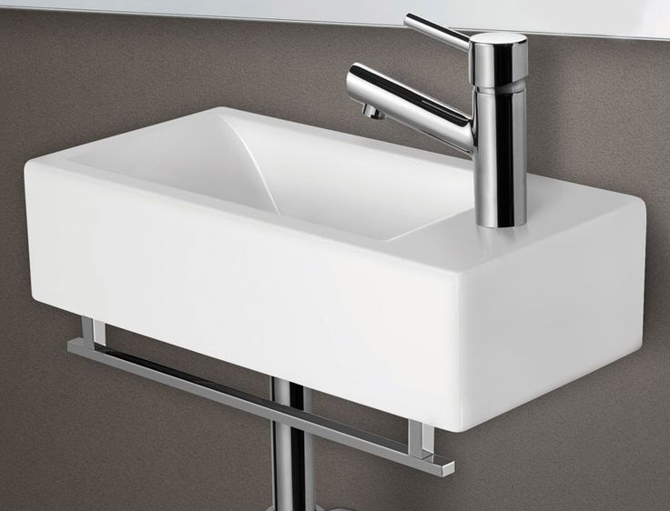 ALFI Small White Modern Rectangular Wall Mounted Ceramic Bathroom Sink Basin